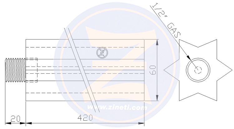 Sacrificial anode rod with threaded bulon VIAC-698