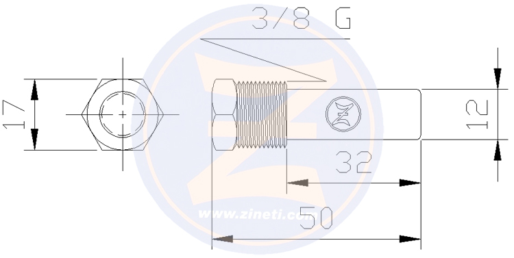 Zinc anode with brass head for engine cooler Yanmar 4LHA-DTE/STE, 6LP-DTE/STE, 6LYA-UTE, 6LY2-STE
