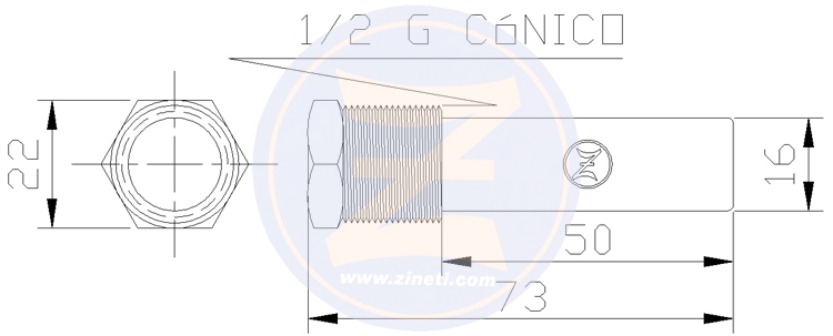 Zinc anode with brass head for engine cooler Yanmar 6LY-UTE/STE, 6LP-STE/DTE