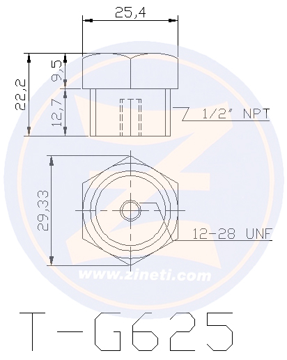 Bolt type anode with steel head, for cooling system protection (T-G625 steel hexagonal plug & Z-G625 anode, sold separately) Z-G625