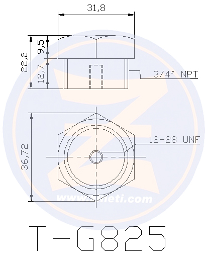 Bolt type anode with steel head, for cooling system protection (T-G825 steel hexagonal plug & Z-G825 anode, sold separately) Z-G825