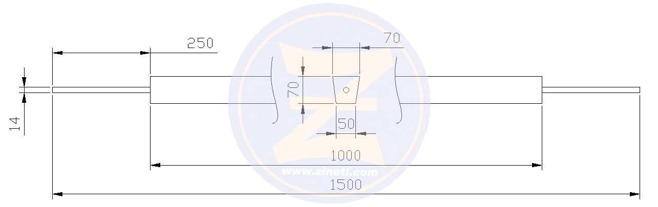 Tank anode with straight rod **This is an example for anode of this size, if you want other dimensions and weights, please consult, 200 to  1500 mm the length which can be manufactured  ZT-1/1000 SC