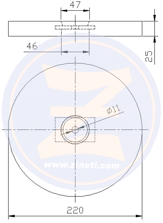 Zinc disc anode for stern stabilizer A-9040